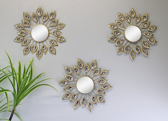 Set of 3 Gold Metal Jewelled Peacock Feather Accent Mirrors