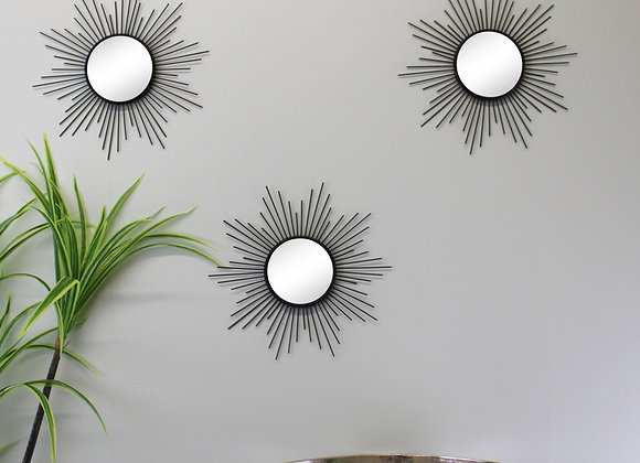 Set of 3 Black Metal Sunburst Accent Mirrors