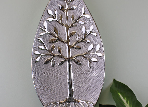 Tree Of Life Dish Ceramic Silver Wall Hanging or Freestanding 38cm