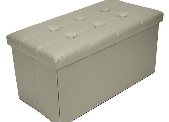 Grey Leather Effect Storage Footstool