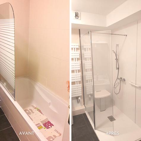 Rénovation et remplacement d'une baignoire par une douche senior