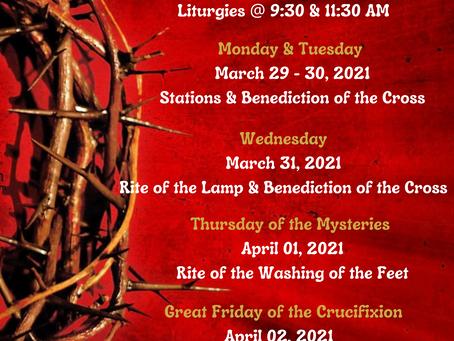 Holy Week Schedule!