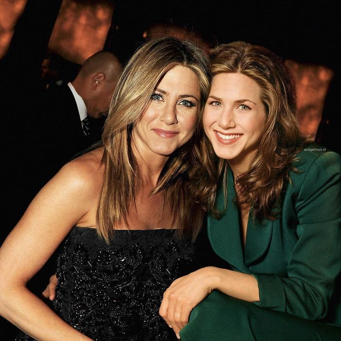 50-Celebrities-hanging-out-with their-younger-selves-Jennifer-Aniston