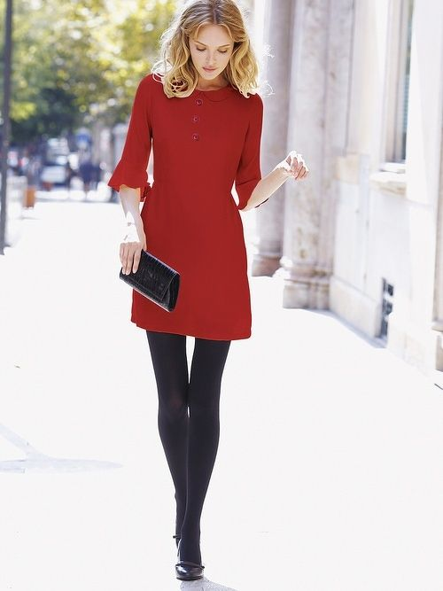 33-women's-casual-work-outfits-for-winter-red-dress