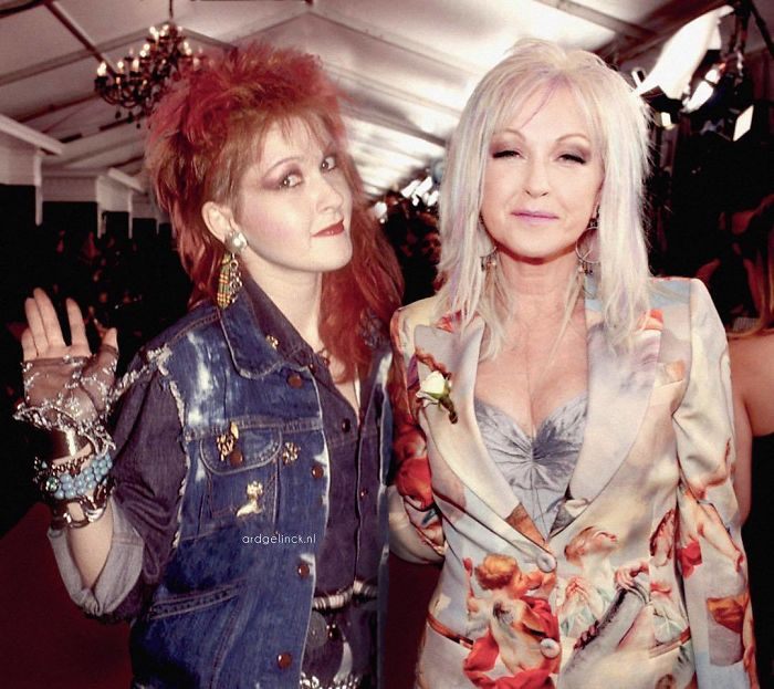 50-Celebrities-hanging-out-with their-younger-selves-Cyndi-Lauper