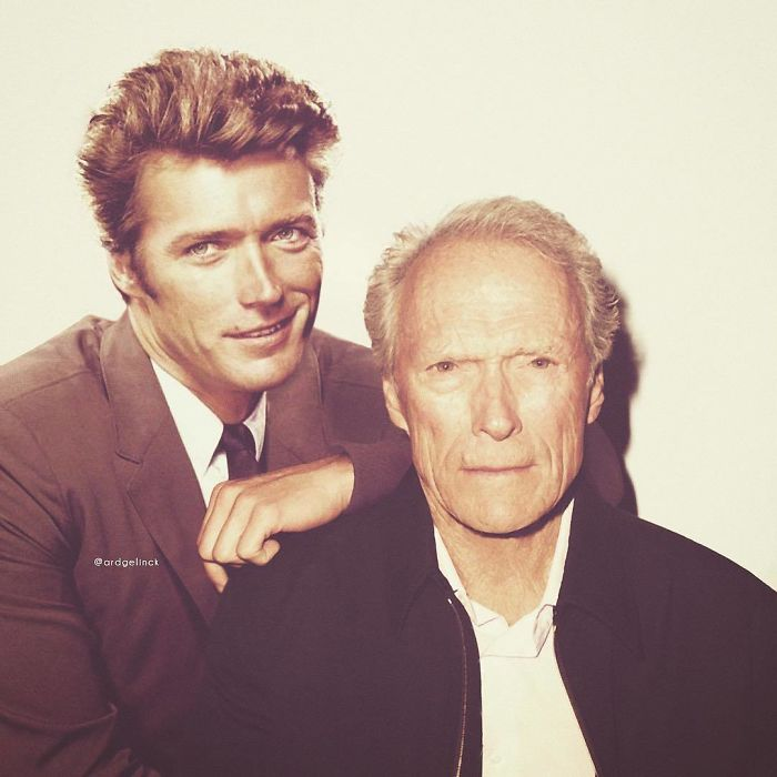 50-Celebrities-hanging-out-with their-younger-selves-Clint-Eastwood