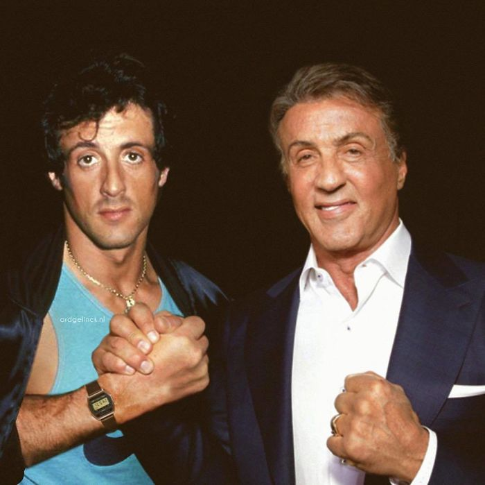 50-Celebrities-hanging-out-with their-younger-selves-Sylvester-Stallone