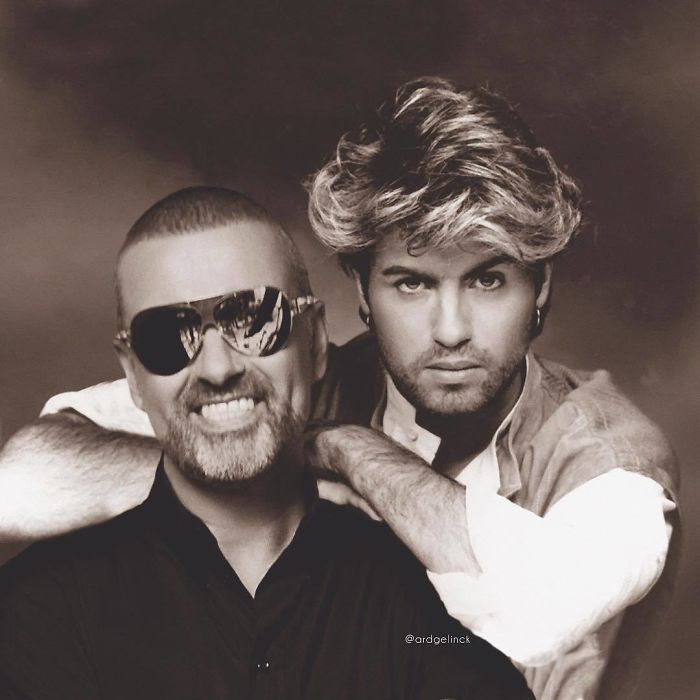 50-Celebrities-hanging-out-with their-younger-selves-George-Michael