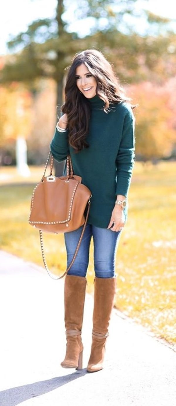 33-women's-casual-work-outfits-for-winter-green-jumper