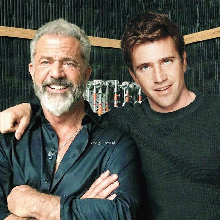 50-Celebrities-hanging-out-with their-younger-selves-Mel-Gibson