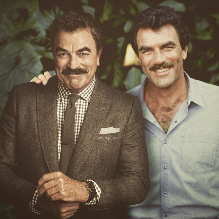 50-Celebrities-hanging-out-with their-younger-selves-Tom-Selleck