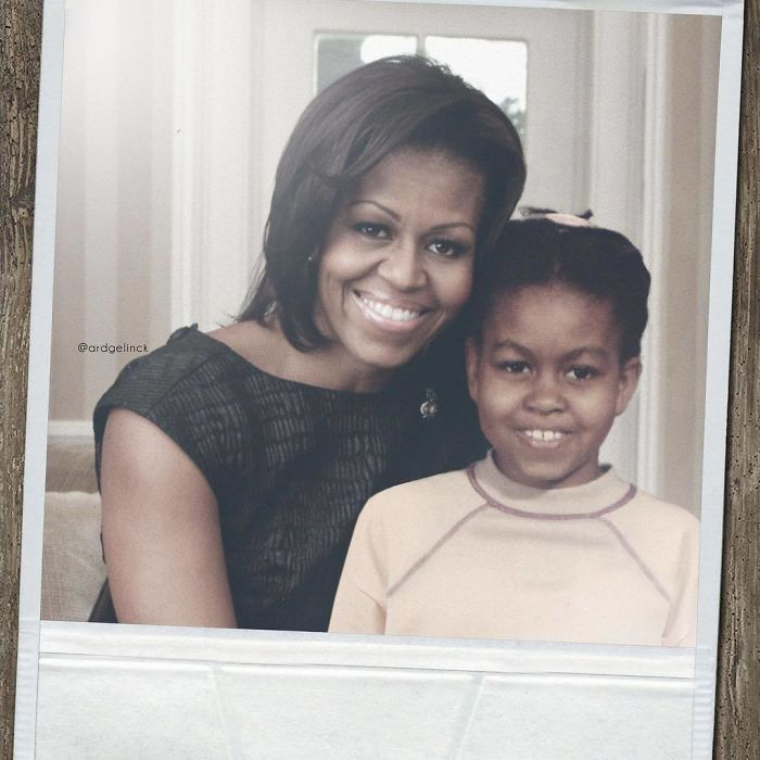 50-Celebrities-hanging-out-with their-younger-selves-Michelle-Obama