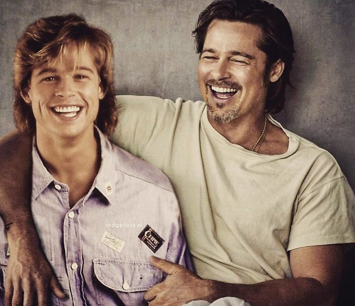 50-Celebrities-hanging-out-with their-younger-selves-Brad-Pitt