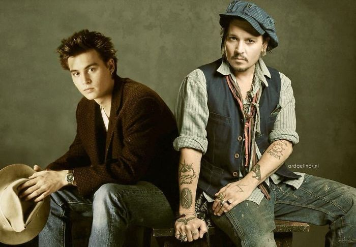 50-Celebrities-hanging-out-with their-younger-selves-Johnny-Depp