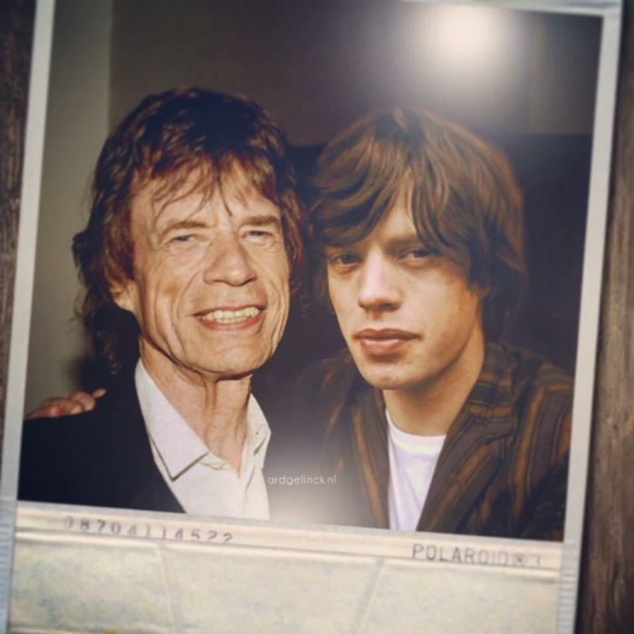50-Celebrities-hanging-out-with their-younger-selves-Mick-Jagger