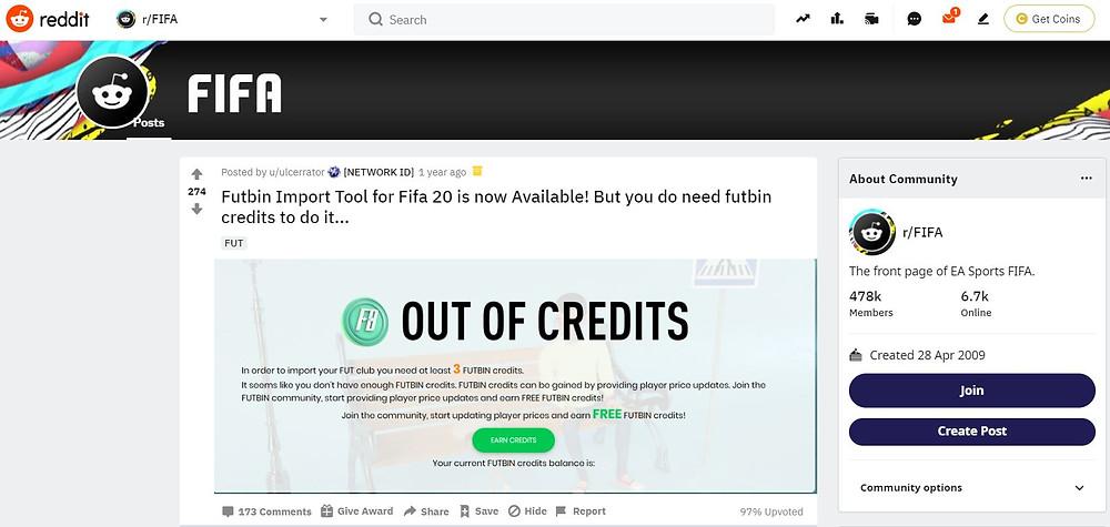 FUTBIN:  Official Reddit Account