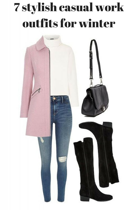 33-women's-casual-work-outfits-for-winter-pink-long-coat