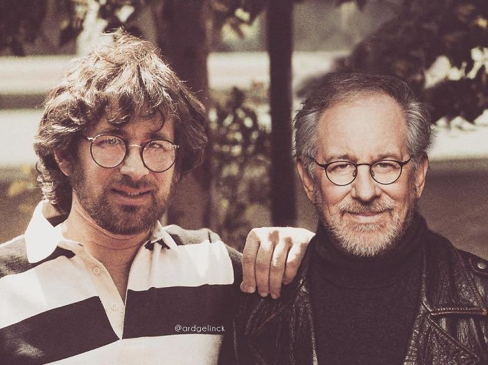 50-Celebrities-hanging-out-with their-younger-selves-Steven-Spielberg