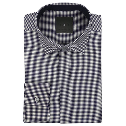 Merino Wool Shirt - Navy - Gingham