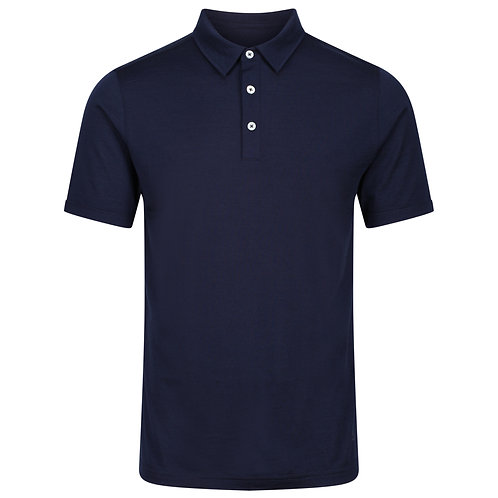 Merino Polo Shirt -  Navy