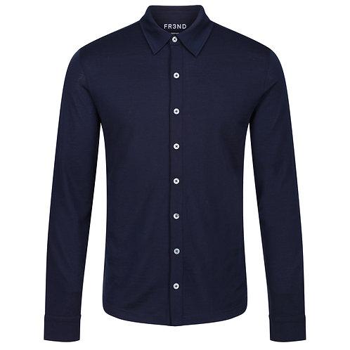 Merino Jersey Shirt -  Navy