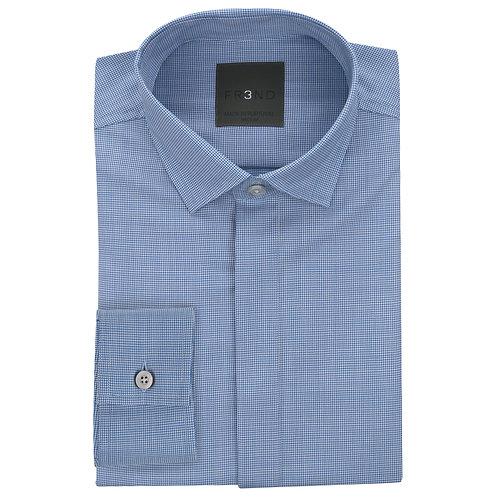 Merino Wool Shirt -  Blue  - Houndstooth