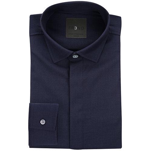 Merino Wool Shirt - Navy - Plain