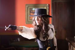 """Belle Starr with """"Never Miss"""" dagger"""