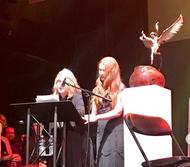 CCWA Awardee Beth Sullivan and daughter Tessa address the audience