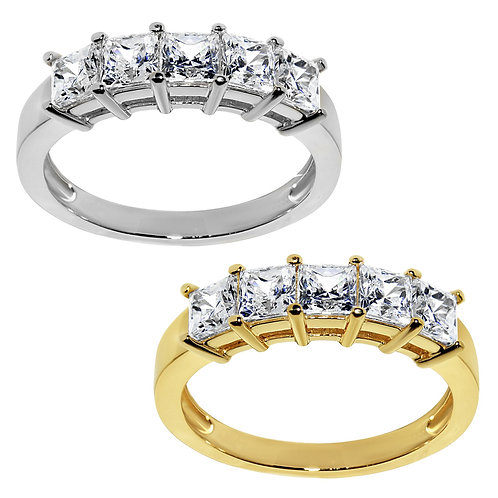 14k Yellow or White Gold 1 1/10ct TGW Princess-cut Diamonette 5-Stone Ring