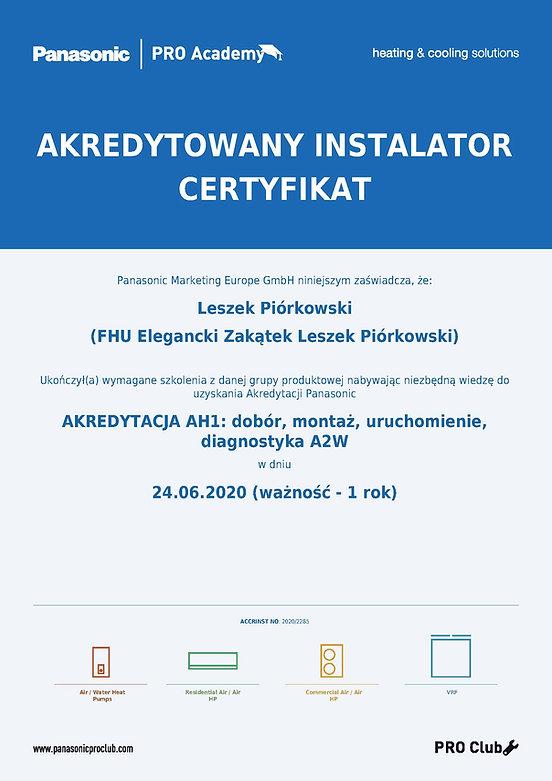 certyfikat_panasonic_Leszek_Piórkowski.