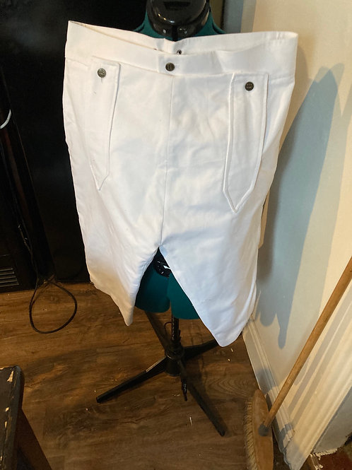 White cotton twill breeches