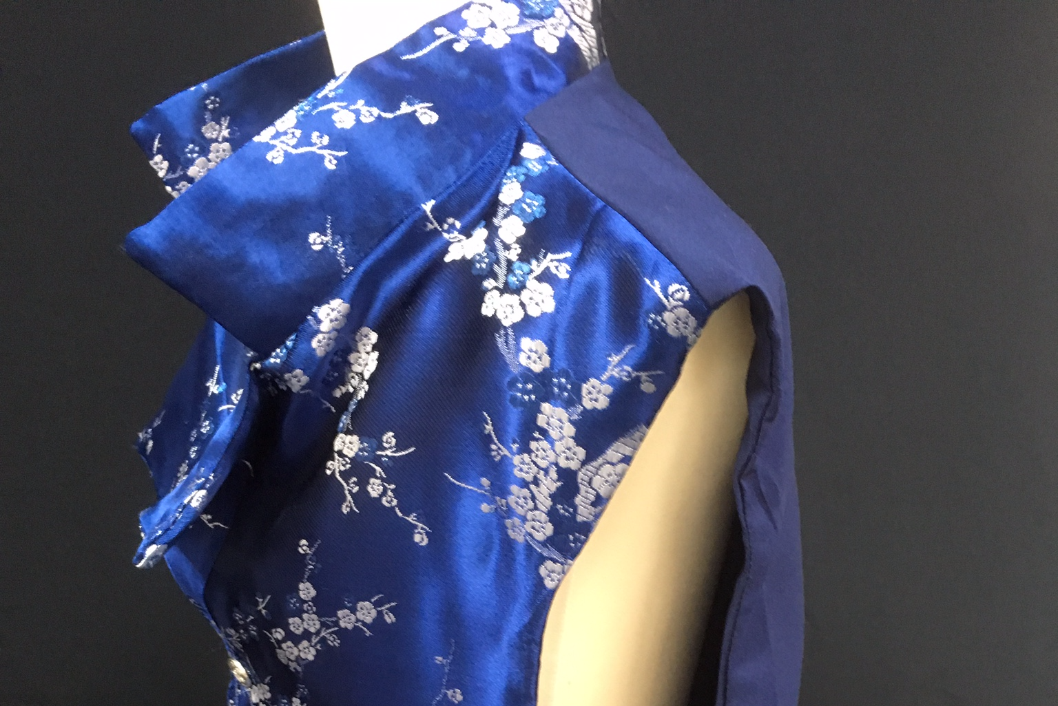 blue cherry blossom waistcoat side