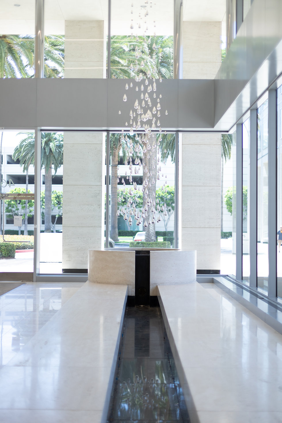 Vertical image of office lobby at MacArthur Court