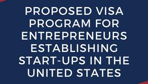 Proposed Visa Program for Entrepreneurs Establishing Start-ups In The United States