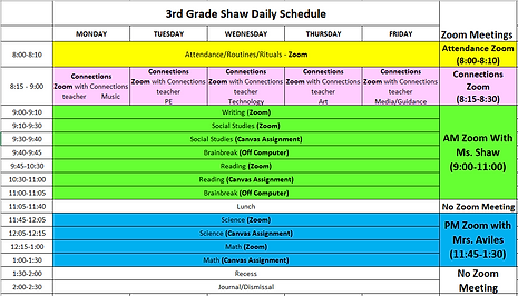 3rd Grade Shaw Daily Schedule.PNG