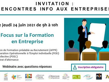 Service entreprises : invitation au prochain webinaire sur le thème de la formation en entreprise