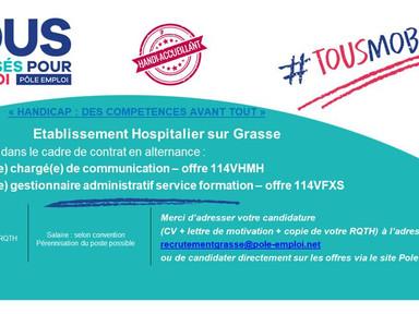 L'hôpital de Grasse recrute du personnel en situation de handicap en contrat d'alternance