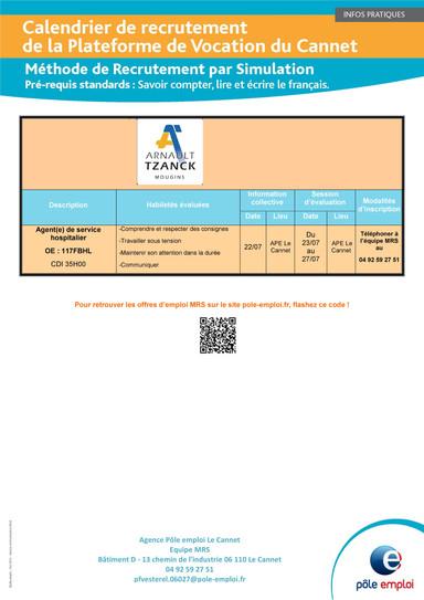 Calendrier des recrutements MRS (Méthode de Recrutement par Simulation)