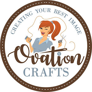 Ovation Crafts red hair woman in gray shirt with thread and scissors