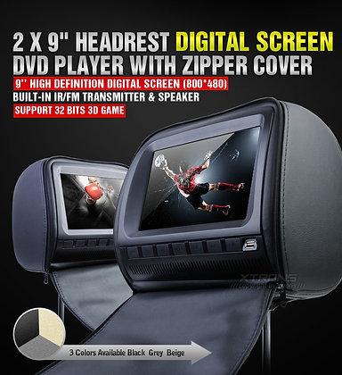 "2X 9"" CAR HEADREST DIGITAL DVD PLAYERS Black"