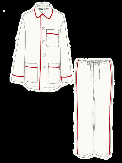Pajamas OFF WHITE c/ vivo rojo