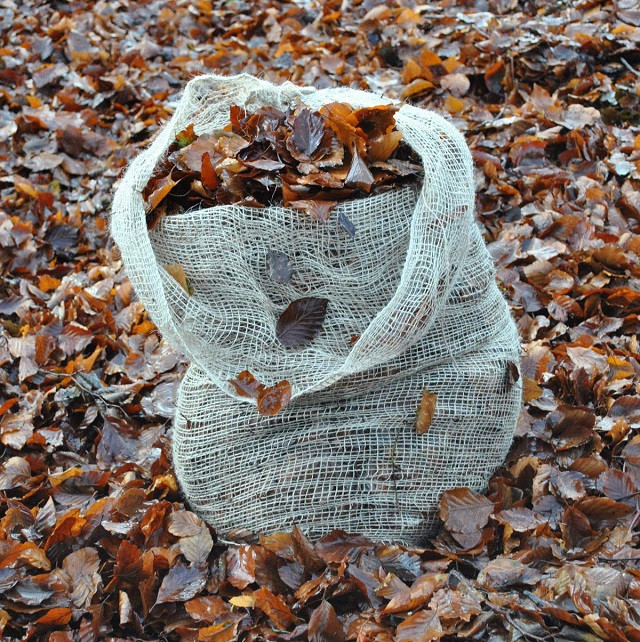 jute leaf sack full of leaves