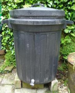 DIY worm compost bin in a plastic dustbin