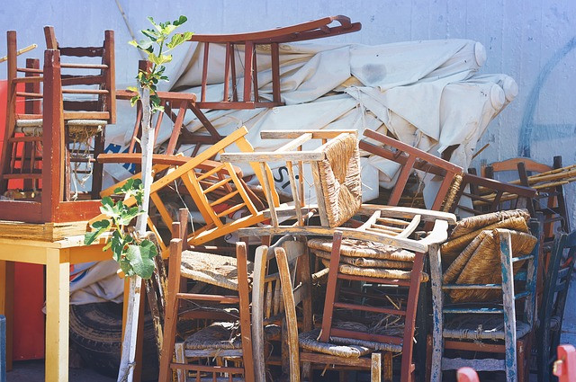 dining chairs in a pile