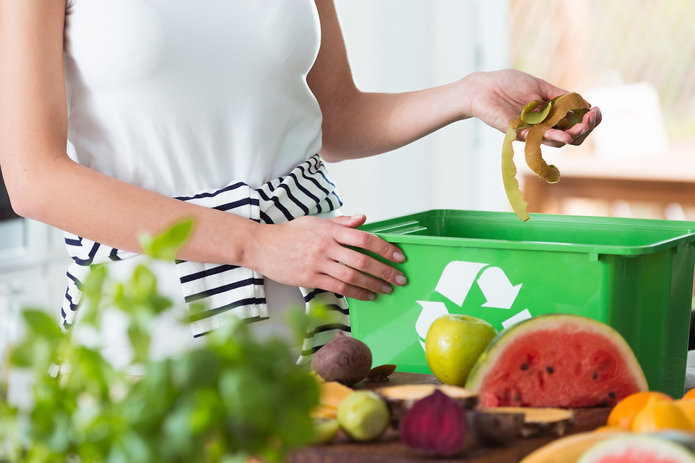 woman with kitchen waste caddy