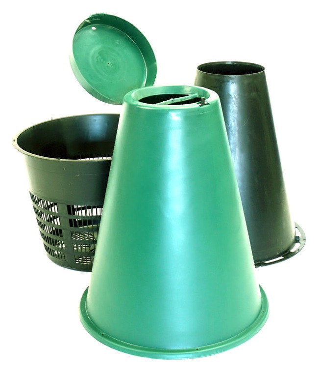 The Green Cone composter for food waste before assembly showing the inner and outer cones and the below-ground basket.