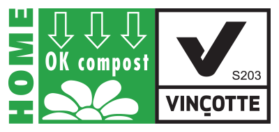 Vincotte logo denoting certification as compostable at home