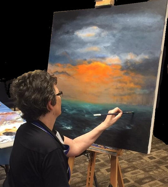 "Kathy Enedy painting ""Dawn's Hope""."