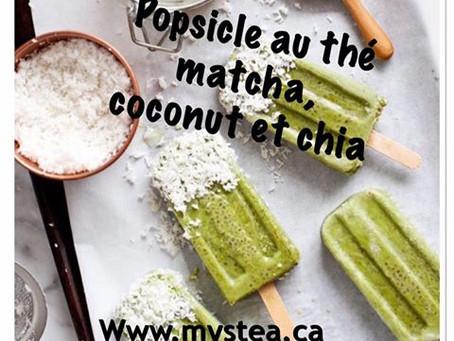 Popsicle au thé matcha, coconut et chia